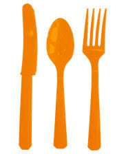 Plastic cutlery orange