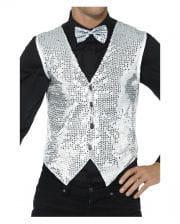 Sequined Vest For Men Silver
