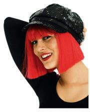 Sequined baseball cap black