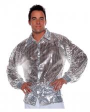 Pailletten Hemd Silber