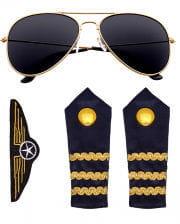Piloten Kostümzubehör Set 4-tlg.