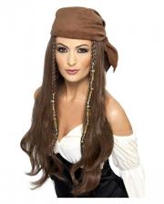 Piraten Lady Perücke mit Bandana
