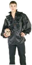 Satin pirate shirt black