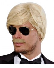Playboy Men's Wig With Mustache Blond