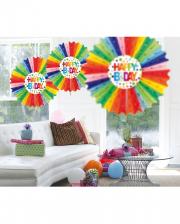 Rainbow Honeycomb Fan HAPPY B-DAY 45cm