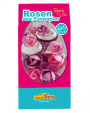 Roses from edible paper pink / purple