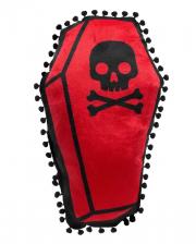 Sarg mit Totenschädel Deko Kissen