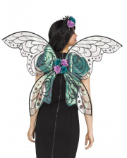 Shimmering Fairy Wings With Flowers Black Glitter