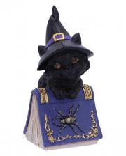 Schwarze Hexenkatze mit Zauberbuch 12,7cm