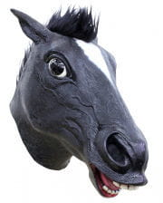Black horse mask with hair