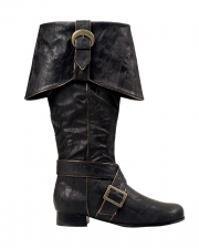 Black Pirate Boots With Buckles