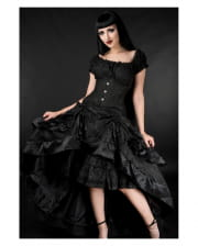 Black Brocade Skirt With Drape