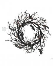 Black Halloween Wreath With Bats & Light