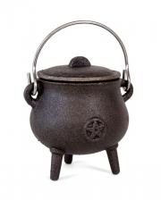 Cast Iron Witch Cauldron With Pentagram 7cm
