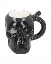 Schwarzer Totenkopf Becher aus Keramik