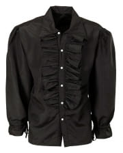 Black ruffled shirt with buttons