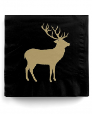 Napkins Deer Silhouette Black Gold 20 Pcs.