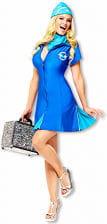 Sexy Stewardess Costume Blue