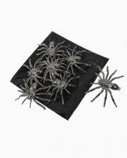 Silver Deco Spiders 8 Pcs.