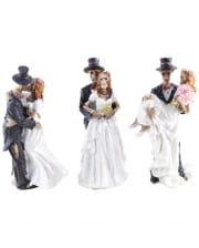 Skeleton Bridal Couple Figures Set Of 3