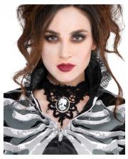 Skelett Cameo Halsband mit Spitze
