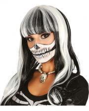 Skelett Perücke schwarz-weiß