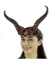 Steampunk Faun Horns Hairband With Lace Bronze