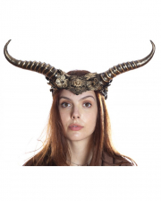 Steampunk Faun Horns Hairband With Lace Gold
