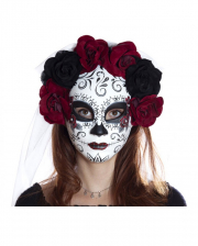 Sugar Skull Mask With Flowers & Veil
