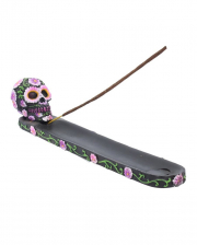 Sugar Skull With Flowers Incense Holder