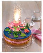 Torten-Fontäne pink mit Musik
