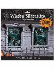 Unheimliche Geisterhaus Fensterdeko 2 St.