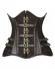 Under Bust Corset Steampunk Brown