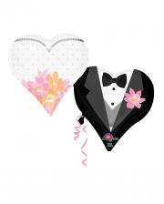 Verliebtes Brautpaar Herzballons