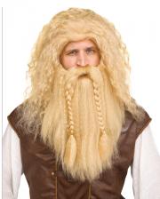 Viking Wig With Beard Blonde