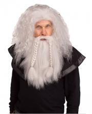 Viking Wig With Beard Grey