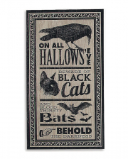 """Vintage Halloween Schild """"Hallows Eve"""" 46x24cm"""