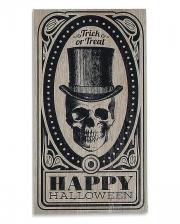 "Vintage Halloween Sign ""Skull With Top Hat"" 46x24cm"