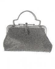 Vintage handbag silver with rhinestones