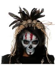 Voodoo headdress with skulls