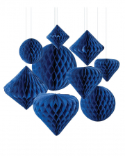 Honeycomb Ball Hanging Decoration Set 12 Pcs Blue