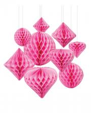 Honeycomb Ball Hanging Decoration Set 12 Pcs Pink