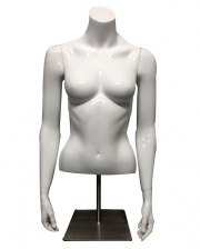 Female Shop Window Torso White With Base Plate