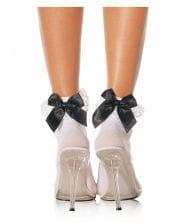 White socks with black bow