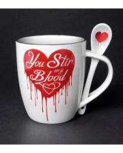 White You Stir My Blood Mug With Spoon