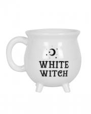 Weißer Hexenkessel Kaffeebecher