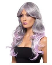 Wavy Ombre Longhair Wig Grey-purple