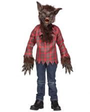 Werwolf Kinderkostüm mit Maske Braun