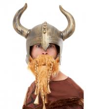 Goldener Vikinger Helm mit Bart