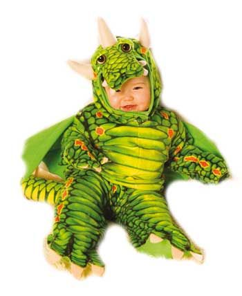 Fire Dragon Child Costume Green Gr. S